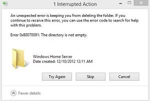 Как удалить папку ошибка 0x80070091?