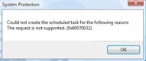 Ошибка 080070032 в Windows Vista