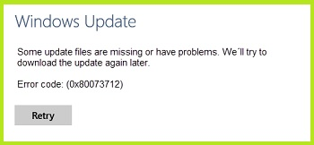 Ошибка 0x80073712 в Windows 10